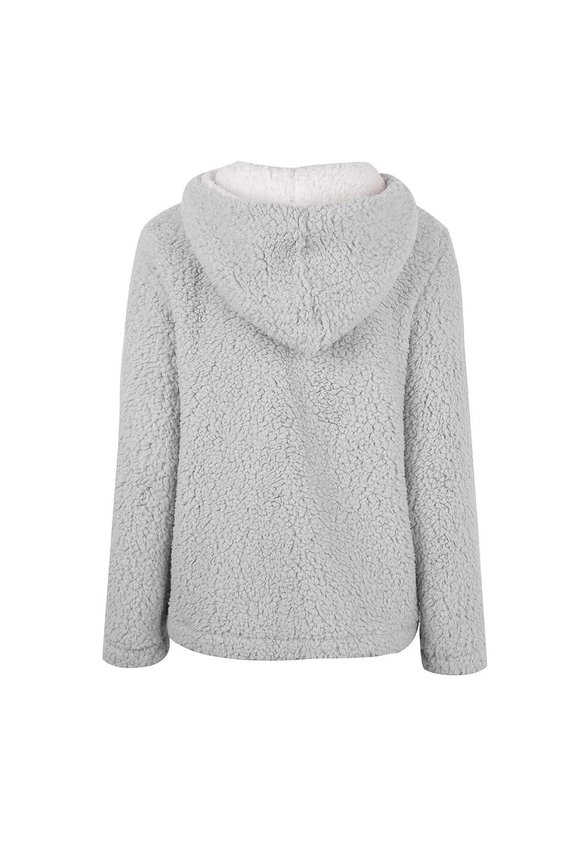 Enfei Womens 1//4 Zip Stitching Fleece Sherpa Pullover Hoodies Winter Jacket Outwear Sweaters