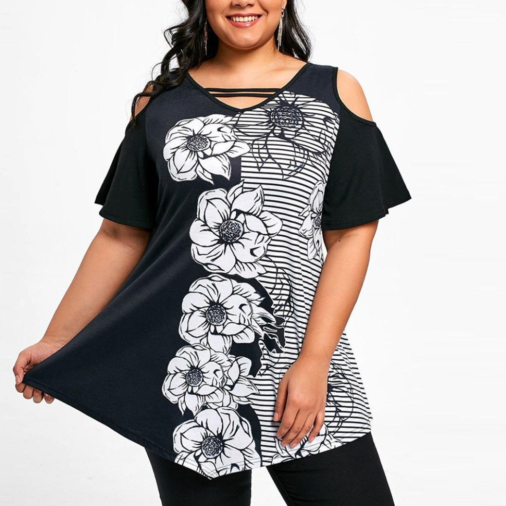 76b8944ccc Qisc Women s Off Shoulder Short Flared Sleeves Wide Asymmetrical Hem Design  Top Tee Shirt Blouses Plus Size XL-5XL at Amazon Women s Clothing store