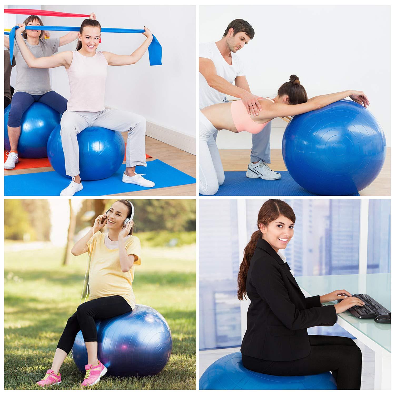 Ulikey Gymnastikball Balance Anti-Burst Ball Fitness Yoga Ball Sitzball von 65cm Maximalbelastbarkeit bis 300kg mit Pumpe Pilates-Ball f/ür Gym B/üro