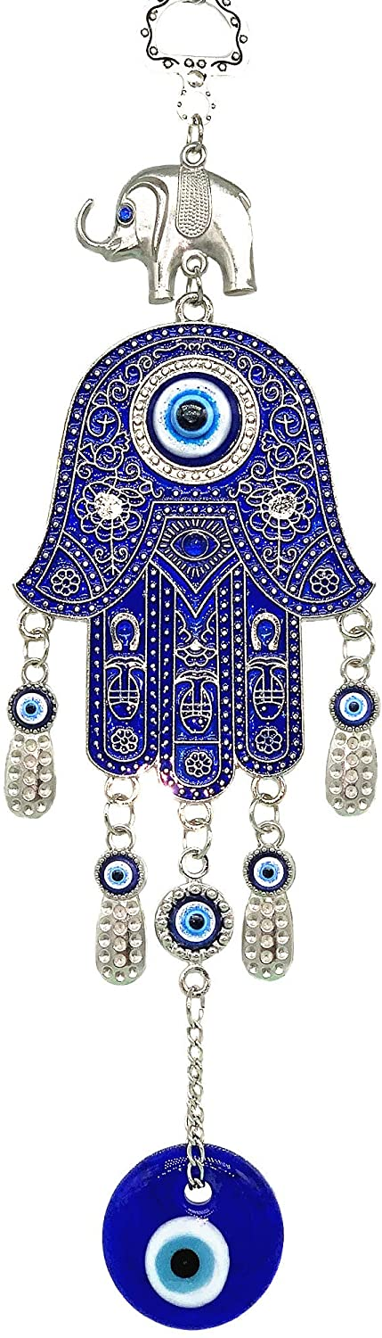 Betterdecor Blue Evil Eye with Hamsa Hand Protection Hanging Decoration (Pouch) -028