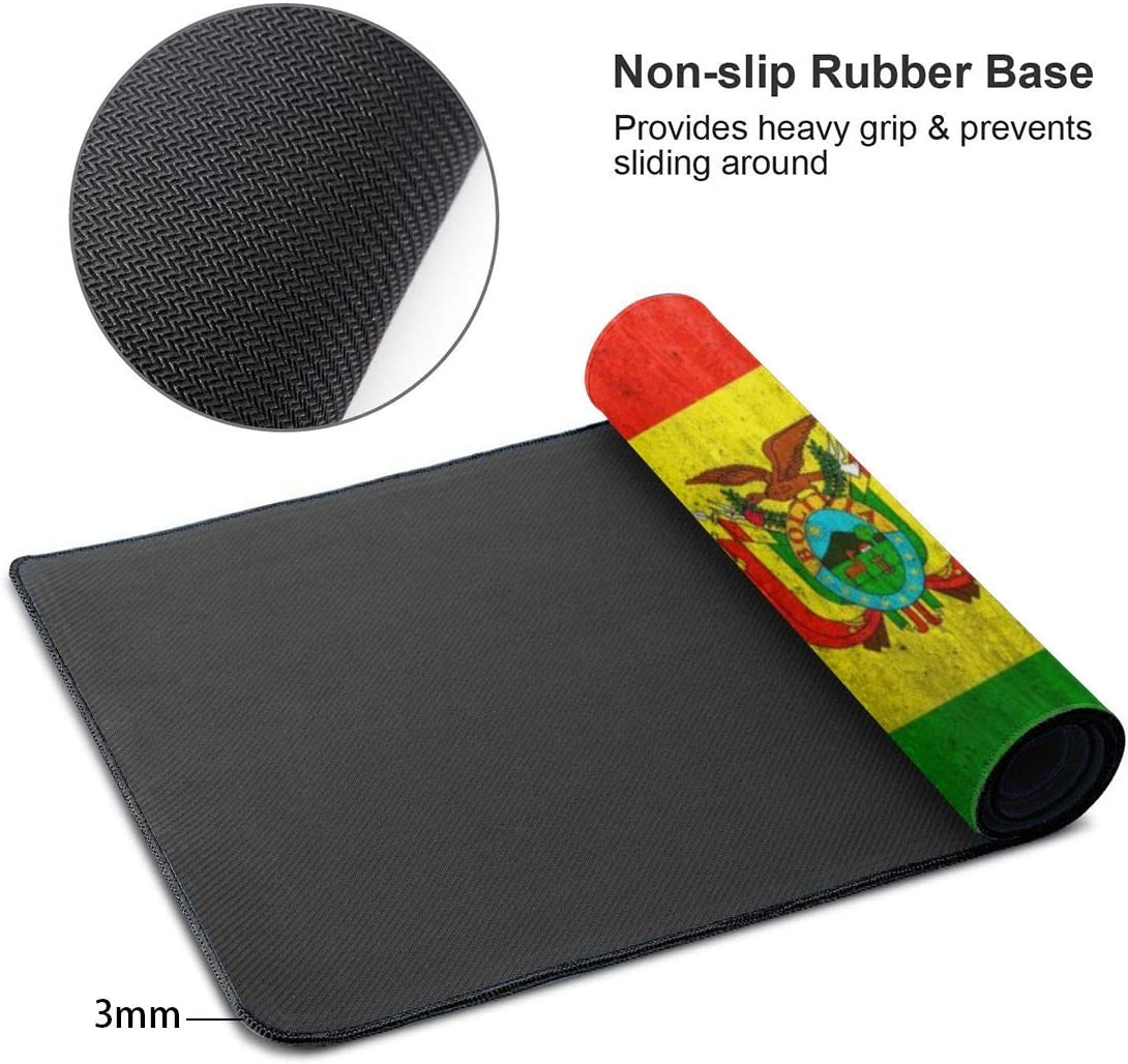 Extended Gaming Mouse Pad with Stitched Edges Office /& Home Waterproof Keyboard Pad Mouse Mat for Gamer Bolivia Flag Large XXL Professional Mousepad with Non-Slip Rubber Base 31.5x11.8 in