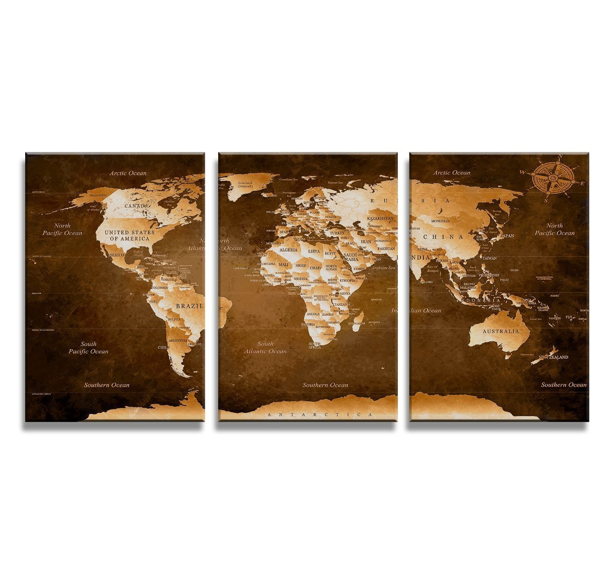 Amazon.com: Canvas Wall Art map of the world Canvas Prints Framed ...