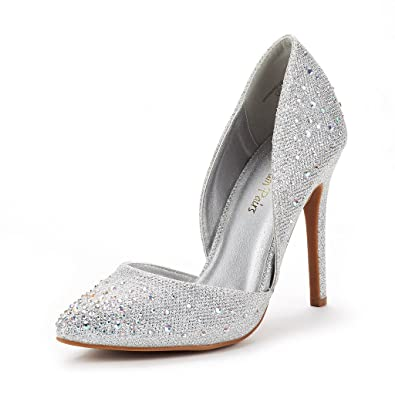 98265a20b88 DREAM PAIRS Women s Oppointed Crystal Silver Dress Pump Stiletto Heel Shoes  Size 5 B(M