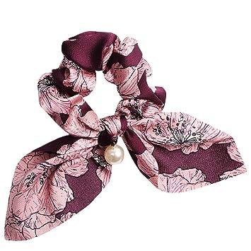 1pc Hair rope Big Bowknot Scrunchies With Pearl Print Flower Hair Ties