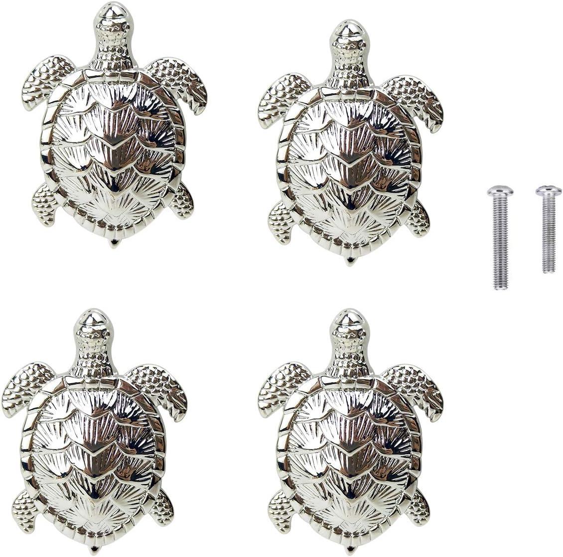 HozYi Set of 4 Ocean Turtles Metal Dresser Drawer Cabinet Door Knob Pull Handles Home Bath Beach Nautical Coastal Decor (Silver)