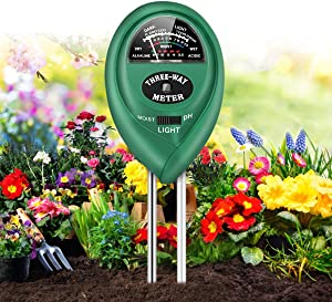 FOMOOUR Soil pH Meter, 3-in-1 Soil Moisture/Light/pH Tester, Gardening Tool Kit for Plants Care, No Battery Required, Suitable for Indoor & Outdoor, Potted Plants, Gardens, lawn, Farms, Moisture Meter