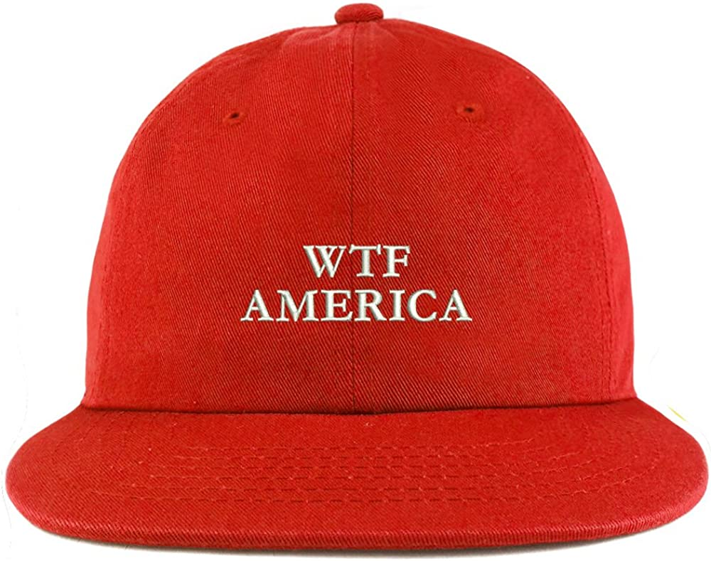 Trendy Apparel Shop WTF America Embroidered Unstructured Flatbill Adjustable Cap