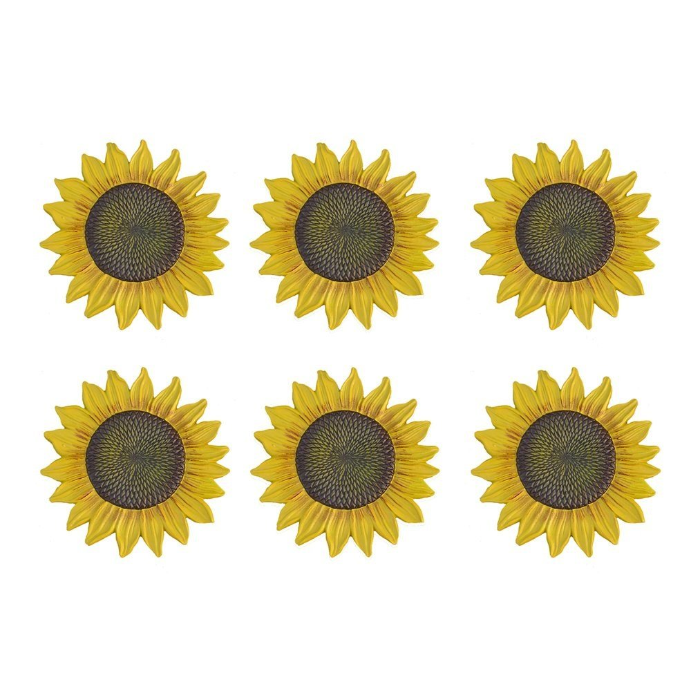 MD Group Garden Stone 6-pack Sunflower Stepping Novelty Cast Aluminum Rust-free Outdoor Decorative