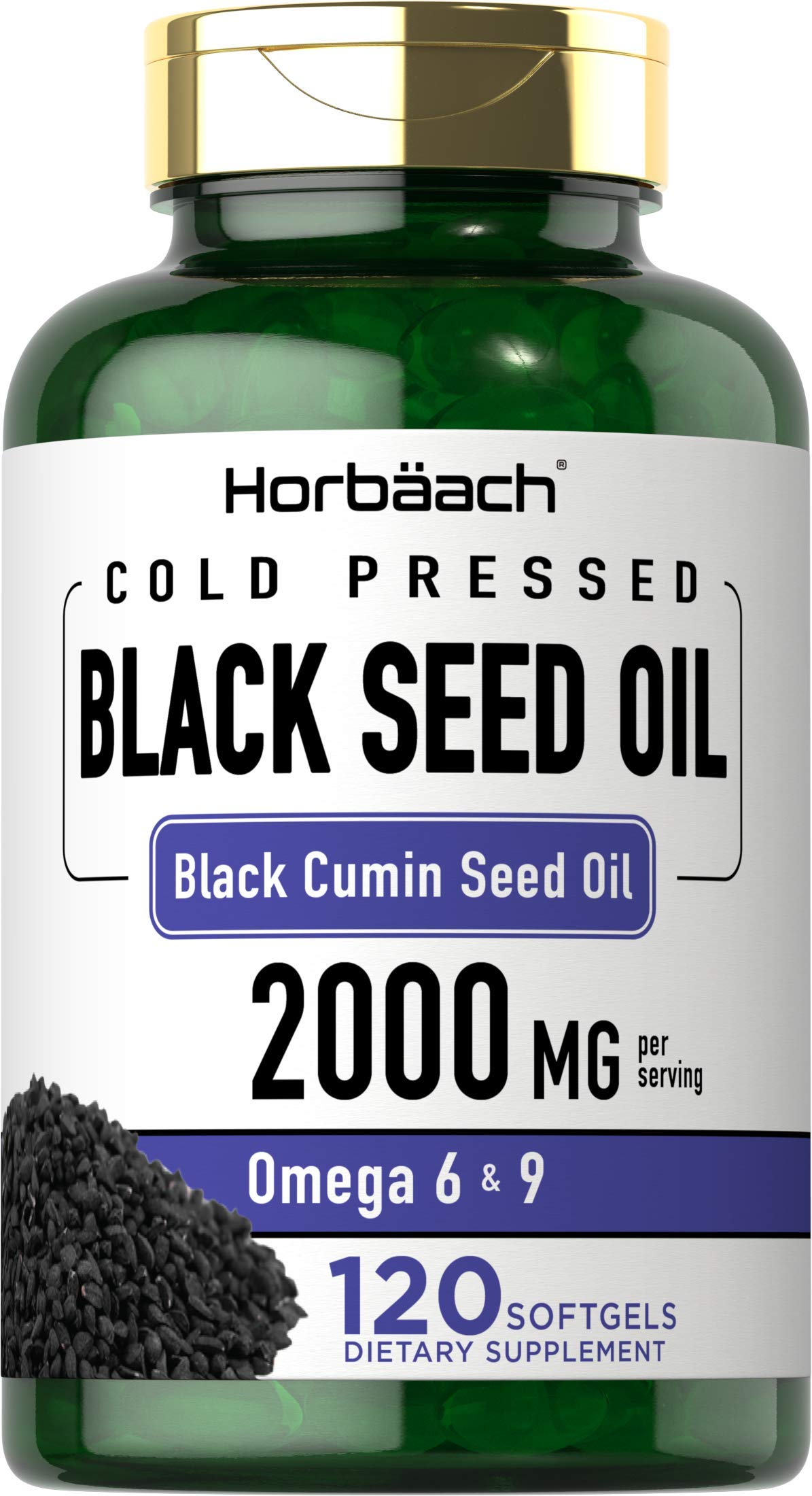 Black Seed Oil 2000mg   120 Softgel Capsules   Cold Pressed Nigella Sativa Pills   Non-GMO, Gluten Free   by Horbaach