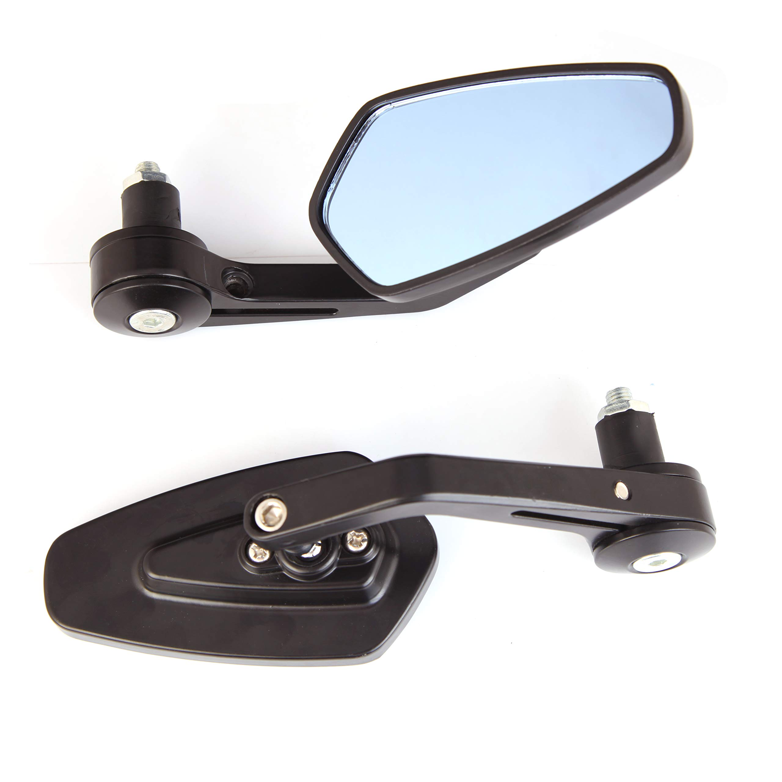 Krator SF-M09N53 7//8 Bar End Suzuki Honda Kawasaki Ducati Black Rear View Mirror Set