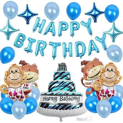 Amazon.com: Monkey cumpleaños decoraciones azul cumpleaños ...