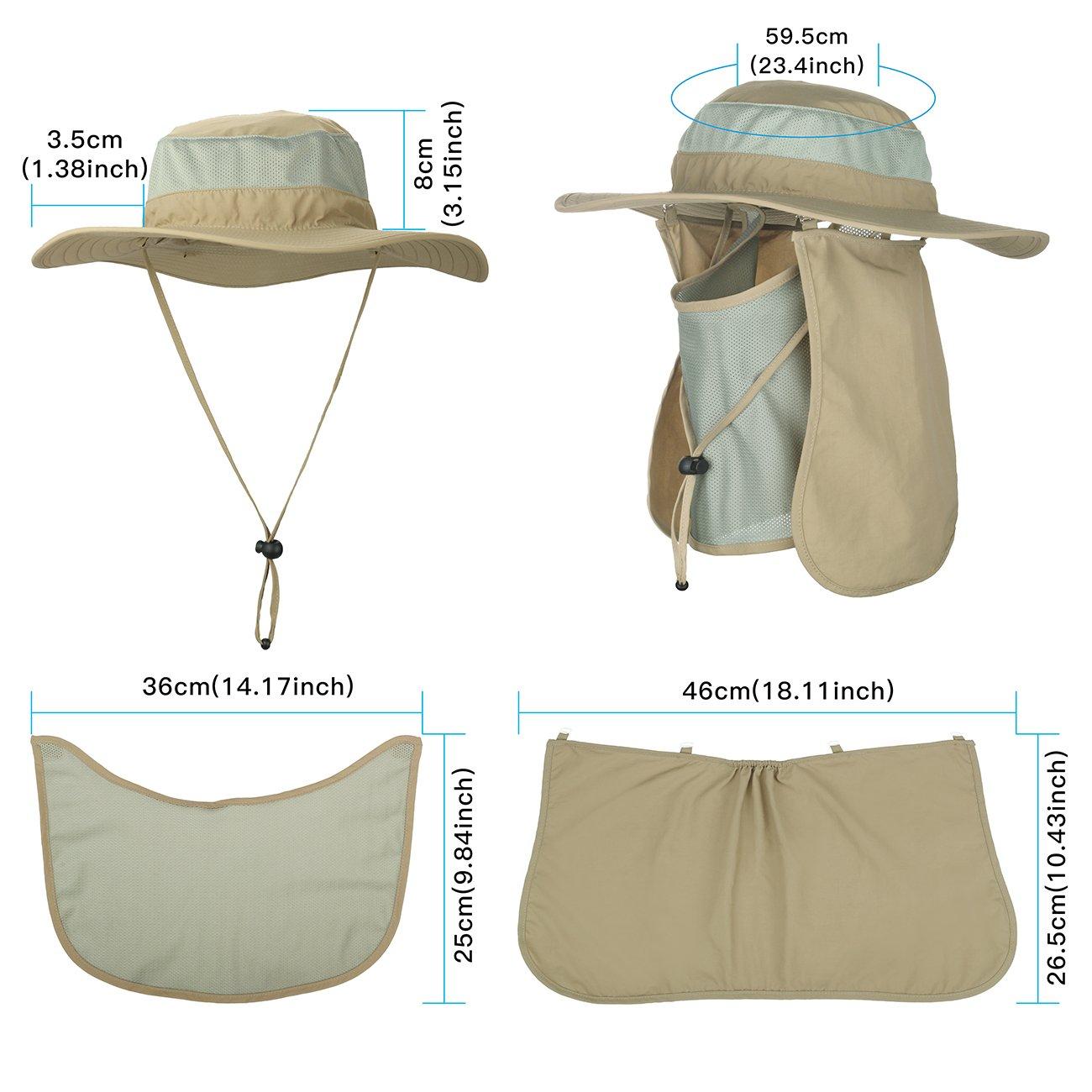 EINSKEY Womens Visor Hat with Neck Flap Summer 360 ° UV Protection Sun Hat  hat ac8193888d9