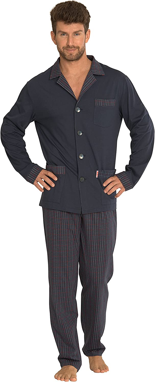 Pijama Clasico Set Camisa Mangas Largas Pantalones Algodon