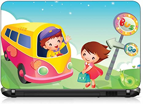 VI Collections BOY TRAVEL IN BUS CARTOON pvc Laptop Decal (Free size ... 7ee5f23cd696a
