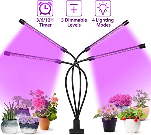 10W Adjustable LED Indoor Plants Grow Light Red//Blue Dimmable Clip Desk Lamp