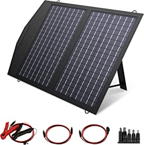 ALLPOWERS 60W Foldable Solar Panel Charger (5V USB + 18V DC Output + Parallel Port) Waterproof for Portable Generator Power Station, Battery Pack, 12V Car Battery, Laptops and Cellphones