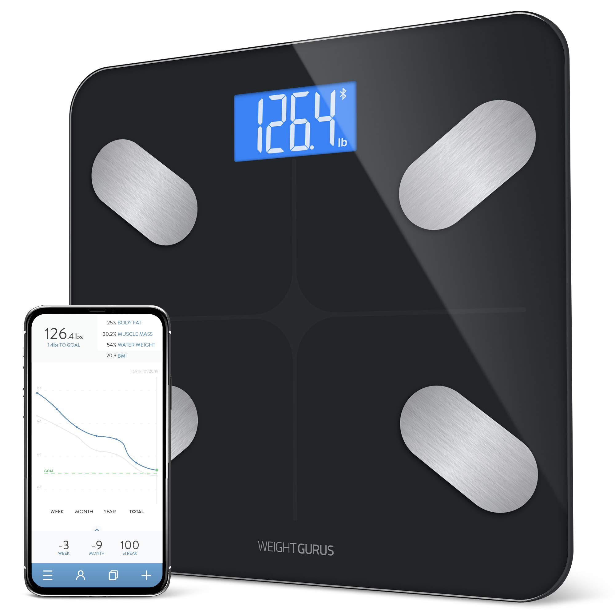 GreaterGoods Bluetooth Digital Body Fat Scale, Smart Body Composition Monitor, Secure Connected Solution for Your Data by Greater Goods