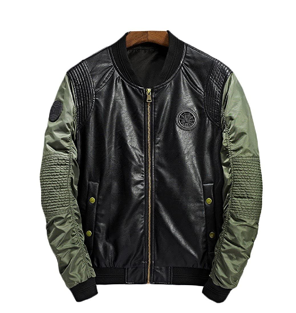 d2164c136c8d7a Green Green Green Coolred-Men Fashion Baseball Stand Collar Bomber Overcoat  Jacket f95ecc