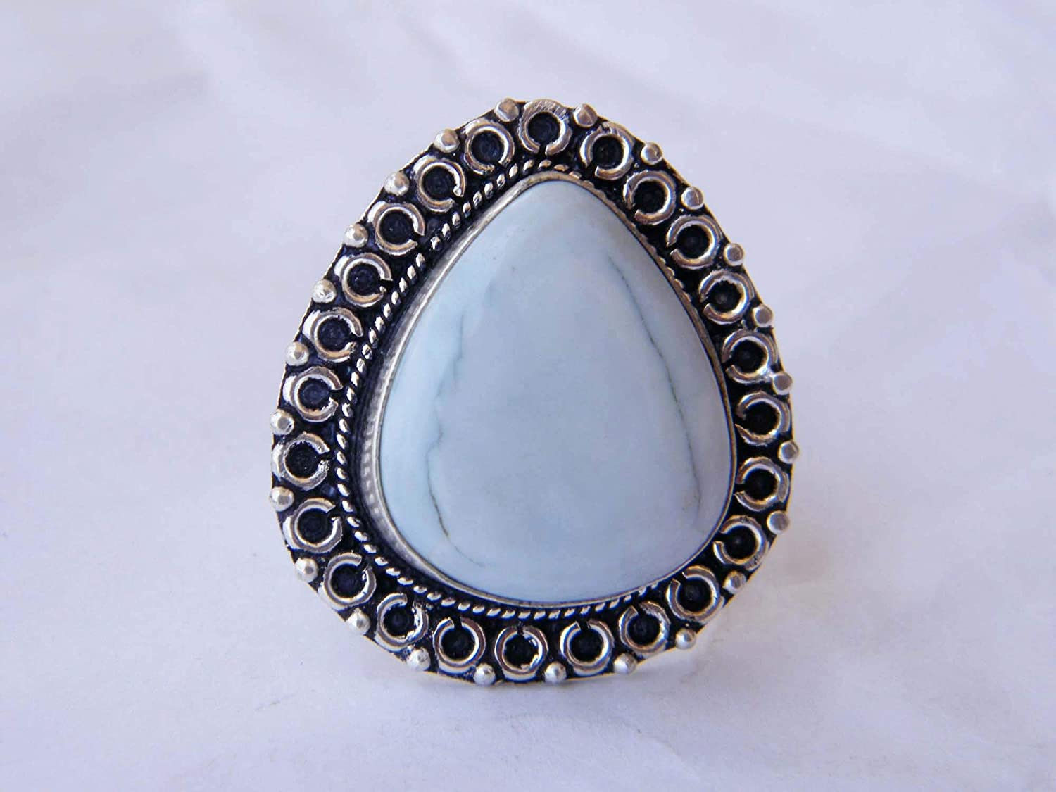 BRS-5281 Thebestjewellery Blue Opal cabochon Ring Women Jewelry, Size-10.25 USA Silver Plated Ring Handmade Ring