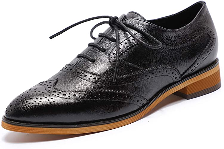 Amazon.com | MIKCON Women's Leather Lace up Oxfords Wingtip Brogue Flats  Saddle Shoes for Girls | Oxfords