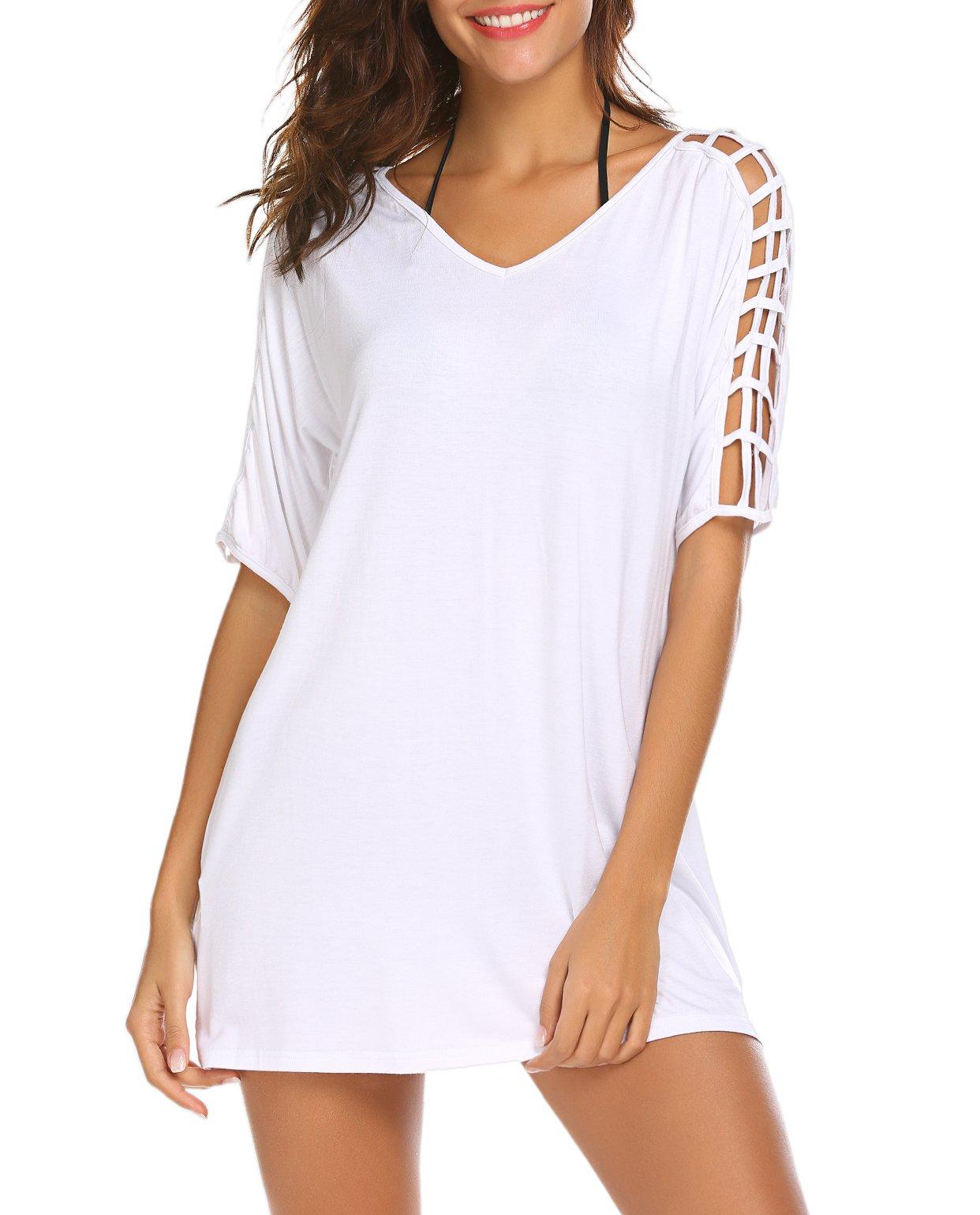 SimpleFun Womens Baggy Swimwear Bikini Cover up Beach Dress T-Shirt (White,S)