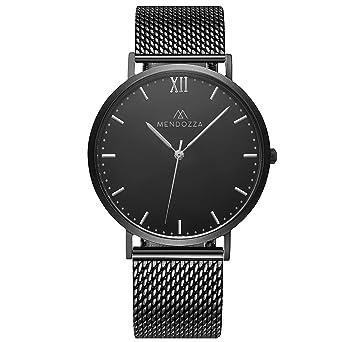 Schwarz Designer Uhrwerk Midnight Black Mesh Uhr Saphirglas Flache 40mm Armband Schweizer Armbanduhr Männer Mendozza Herren c3Tl1JFK