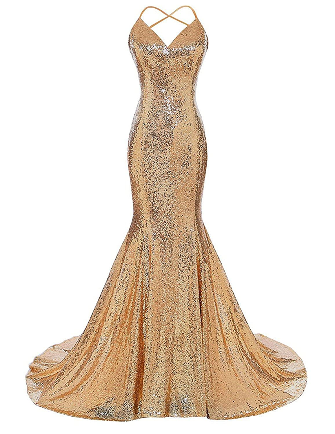 gold Monalia Women's 2018 Formal Evening Dresses Sequined Mermaid Prom Gowns EV4