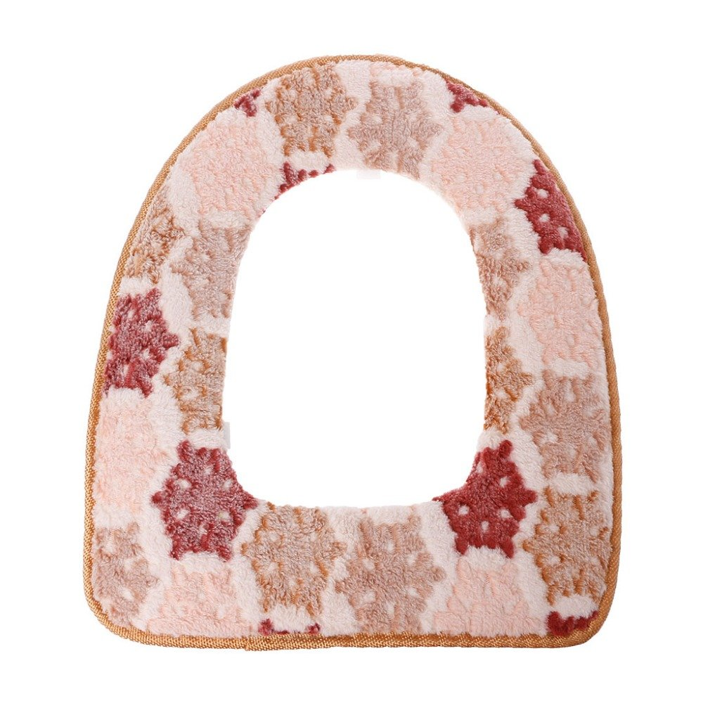 Bathroom Accessories M and F 1PC Sticky Toilet Mat Soft Warm Toilet Seat Heated Closestool Pad Washable Toilet Seat Cover Color Beige
