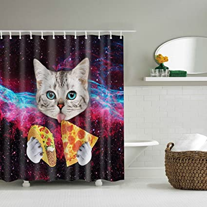 EA STONE The Funny Cat Shower Curtain 12 HooksBathroom Waterproof Home Decor