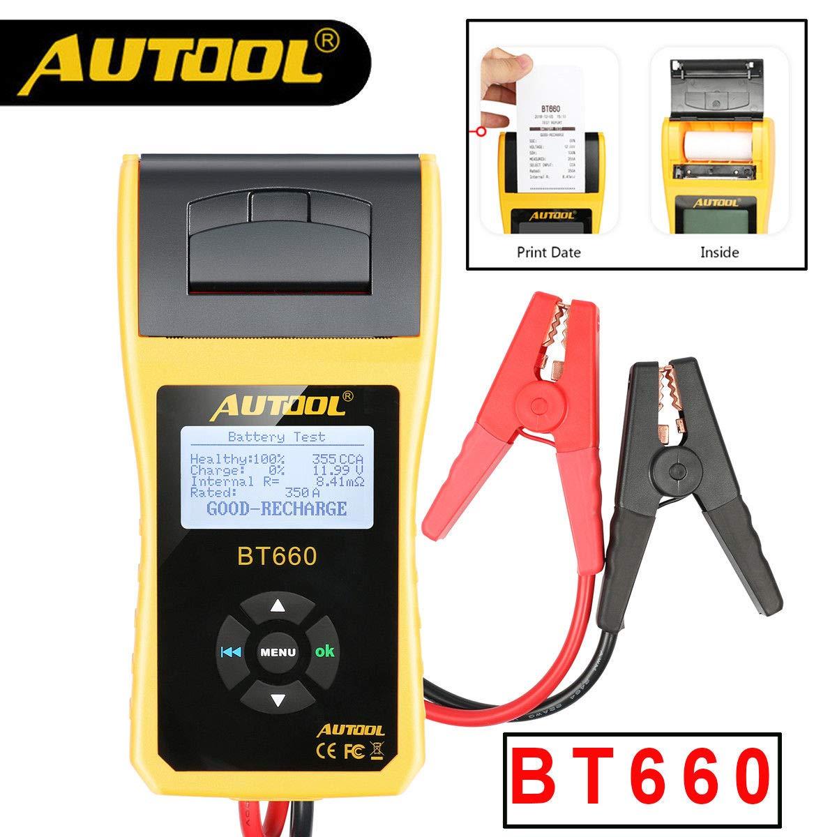 WonVon 12V Car Battery Load Tester and Analyzer,AUTOOL BT660 12V/24V Car Battery System Tester Cranking/Charging Test with Printer for Heavy Duty Trucks Cars ATV by WonVon (Image #2)