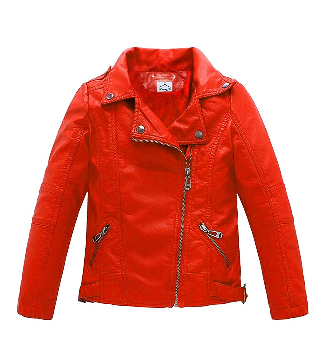 VearFit Trango Red Girls Kids Todller Pu Faux Leather Jacket
