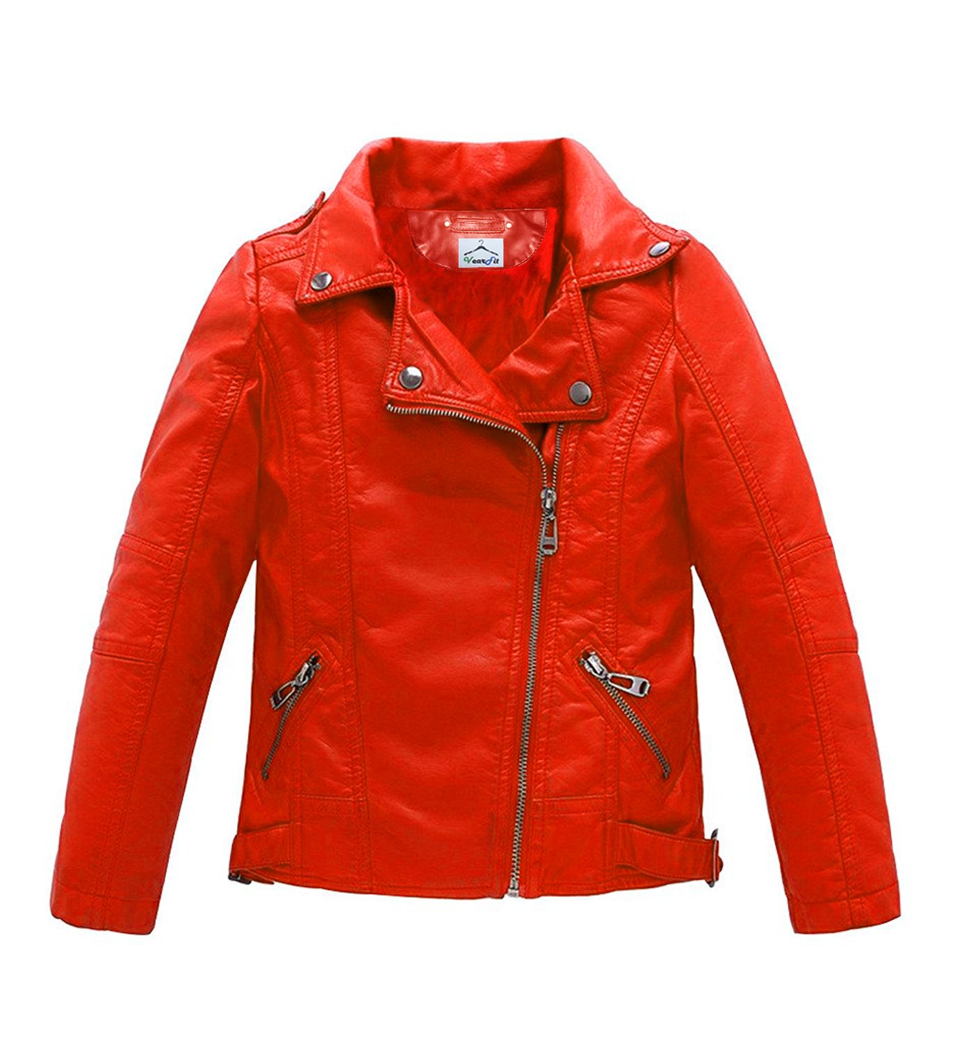 VearFit Trango Red Girls Kids Todller Real Leather Jacket, 1-2-Year, Red