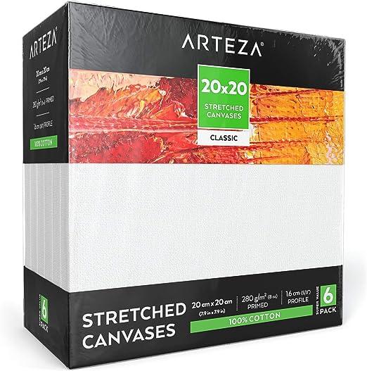 Arteza Lienzo para pintar cuadros | 20x20 cm | Pack de 6 | 100% algodón | Lienzos con imprimación de gesso de titanio sin ácidos | para profesionales, aficionados y principiantes: Amazon.es: Hogar