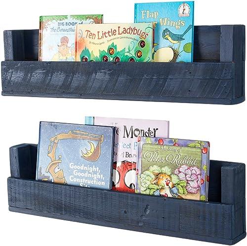 Drakestone Designs Nursery Bookshelves 28 Inch Set of 2 Wall Mount Handmade Rustic Reclaimed Wood Navy Blue