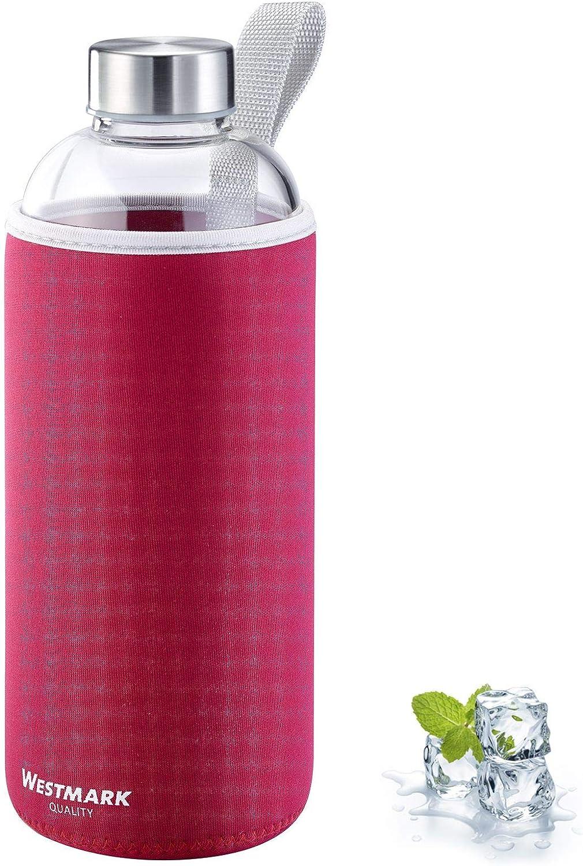 Westmark Viva 5274226R - Botella de agua de cristal (1000 ml, cristal, silicona y caucho, sin bisfenol A), color rojo, plateado y transparente