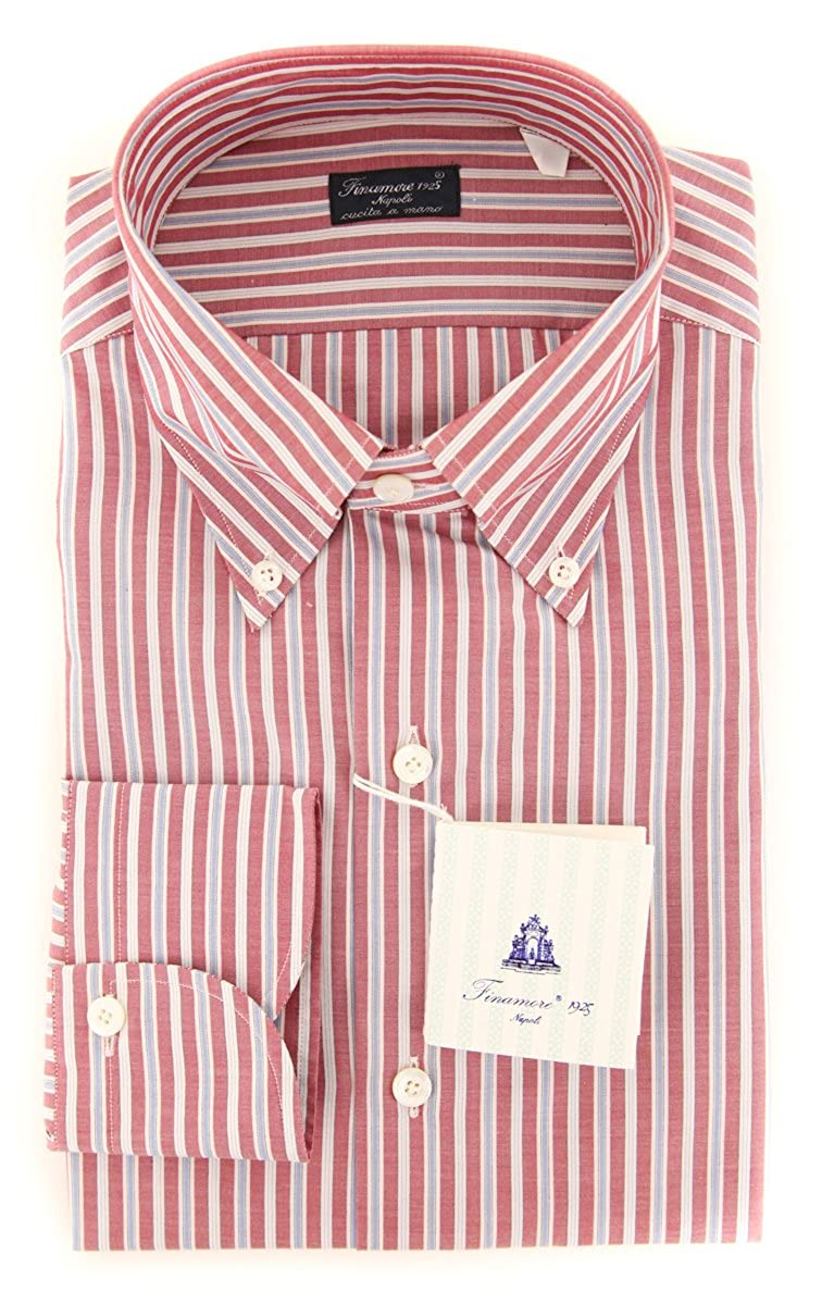 Finamore Napoli Stripes Button Down Button-Down Collar Cotton Slim Fit Dress Shirt