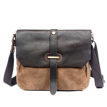 WUDON Waxed Canvas Leather Messenger Bag – Small Travel School Crossbody Bag Khaki