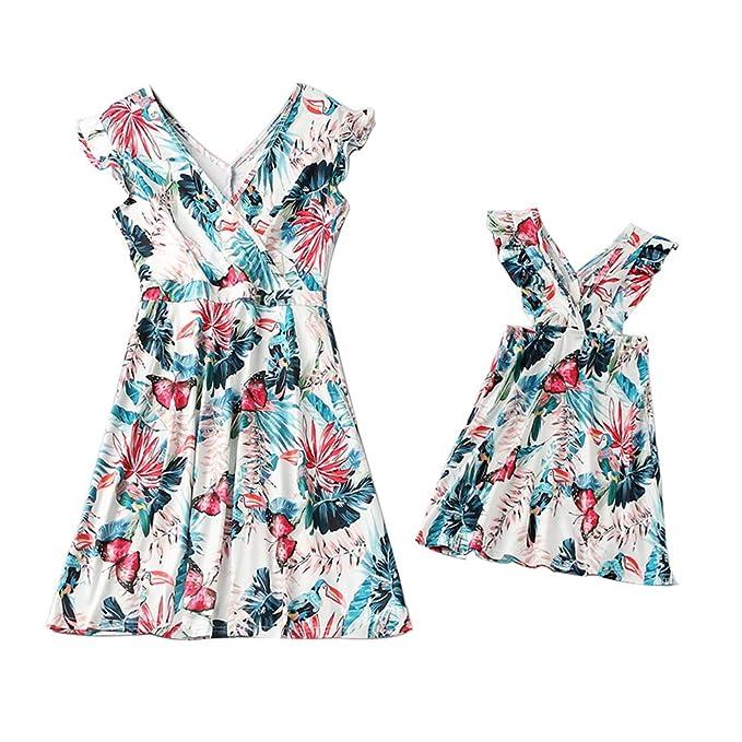 faf635a30d3bf Mommy and Me Dresses Boho Maxi Dress Family Matching Set Halter Beach  Sundresses
