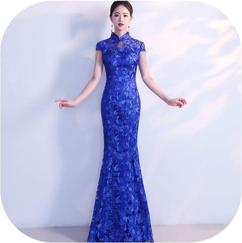 Amazon.com: Azul marino Encaje Cheongsam Vestido de la Boda ...