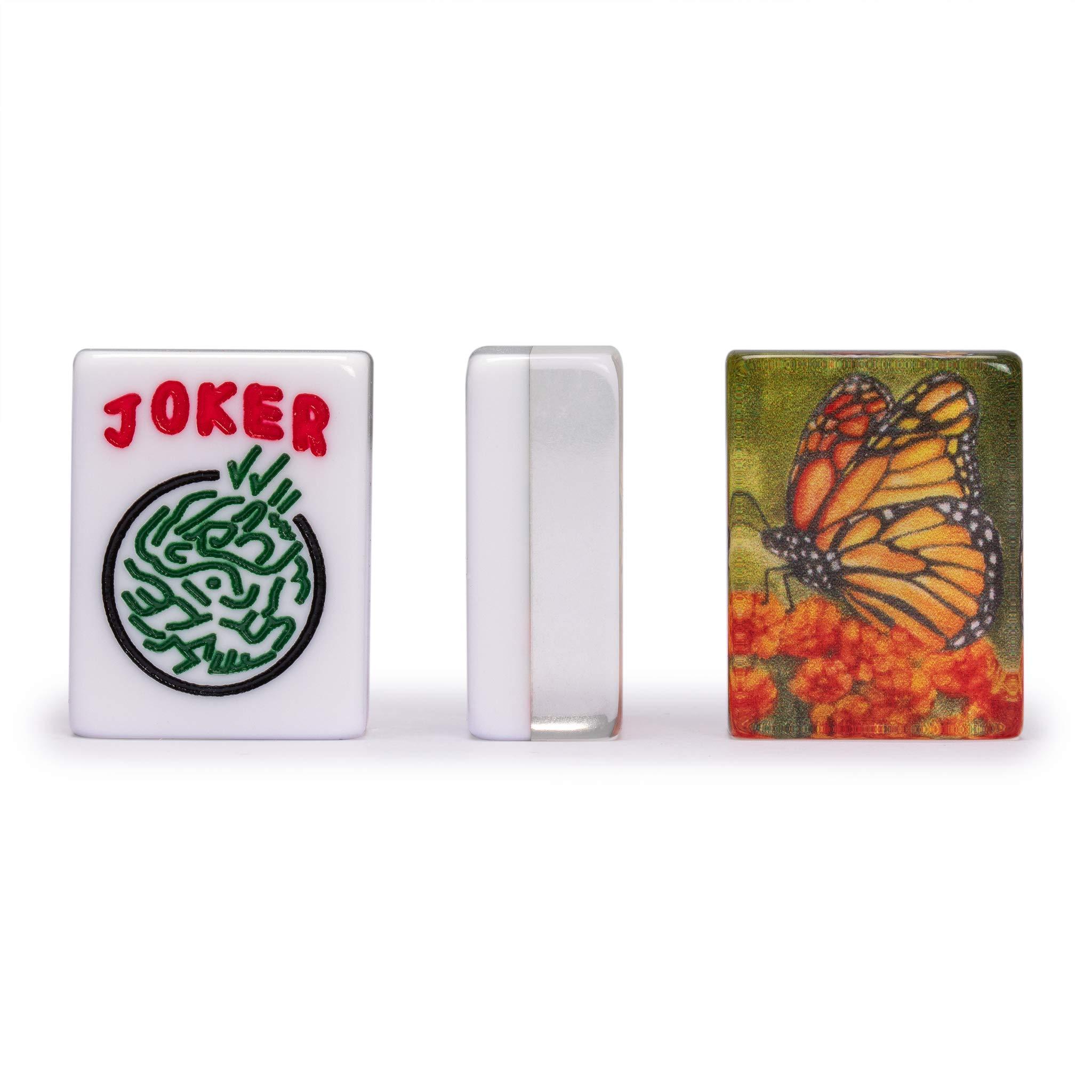 Yellow Mountain Imports American Mahjong Tiles, Papillon - 1.2 x 0.9 x 0.5 inches (30 cm x 23 cm x 13 cm) - 166 Acrylic Standard Size Mahjong Tiles