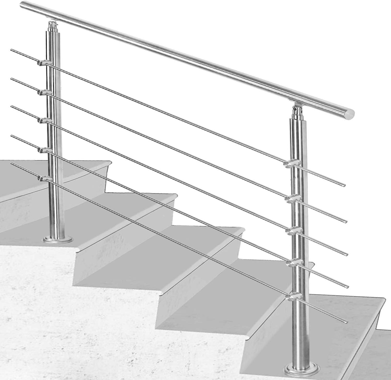 4.2 Hengda Rampe d/'escalier Acier Inoxydable,80 106.5cm avec 5 Tringles,Rambarde Main pour lint/érieur et lext/érieur Balustrade pour balcon