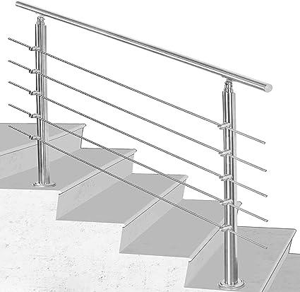 Hengda Pasamanos escalera acero inox 100 * 4.2 * 106.5cm,5 barras,barandilla con kit de instalación,para Exteriores Ático Barandas para Ancianos y niños: Amazon.es: Bricolaje y herramientas