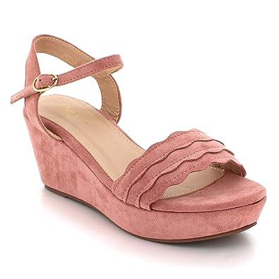 New Ladies Women Wedge Heel Open Toe Fastening Strap Comfort Sandals UK Size