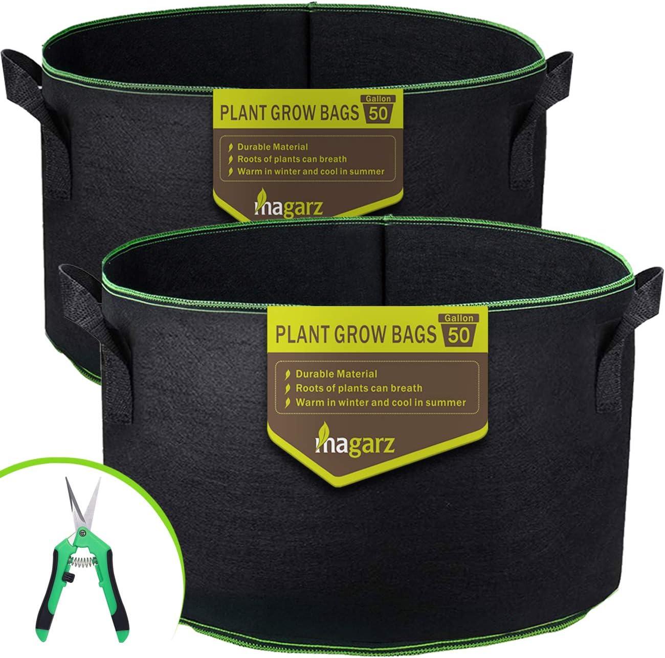 Magarz 2-Pack 50 Gallon Fabric Flower Pots Garden Felt Grow Bags with Handle (Black)