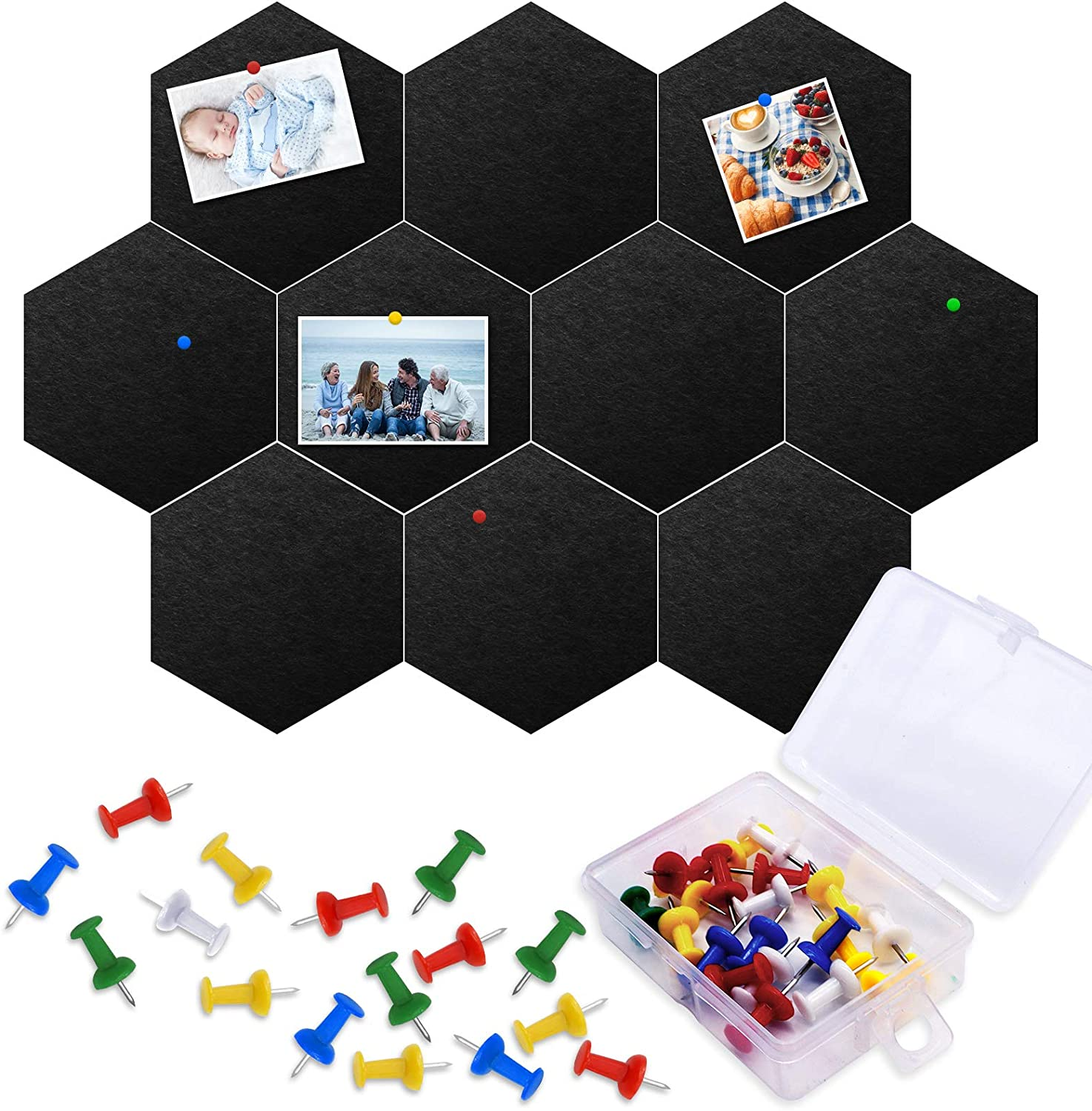 10 Packs Pin Board Hexagon Cork Board Tiles, Owlbbabies Self-Adhesive Bulletin Board Memo Board Notice Board with 20 Pack Color Push Pins for Home Office Classroom Wall Decorations, 5.9 x 7 inches