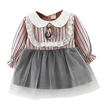 20adb3b1b SMILEQ Toddler Kids Casual Dress Girls Lace Striped Mini Skirt Long ...