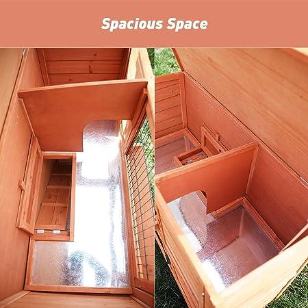 POTBY Caseta de Madera para Conejos con Techo Impermeable y Escalera para Conejos, Conejos, Pollos y Otros Animales pequeños, de la Marca: Amazon.es: Productos para mascotas