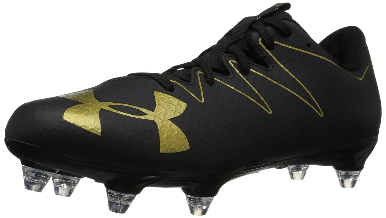 Under Armour Men's Nitro Low D Rugby Shoe, Black/Metallic Gold B072BY2277 7 M US|Black