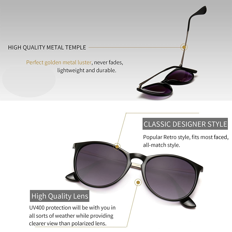 c5536e64f66 Amazon.com  SUNGAIT Vintage Round Sunglasses for Women Classic Retro  Designer Style (Black Frame Glossy Finish Grey Gradient Lens)  Clothing