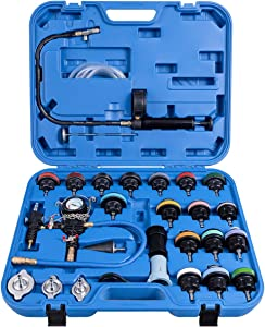 Goplus 28-Piece Universal Radiator Pressure Tester, Vacuum Type Cooling System Tool Kit w/Carrying Case (Blue Case)